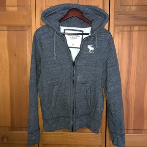 Abercrombie zip up gray moose hoodie guys size M